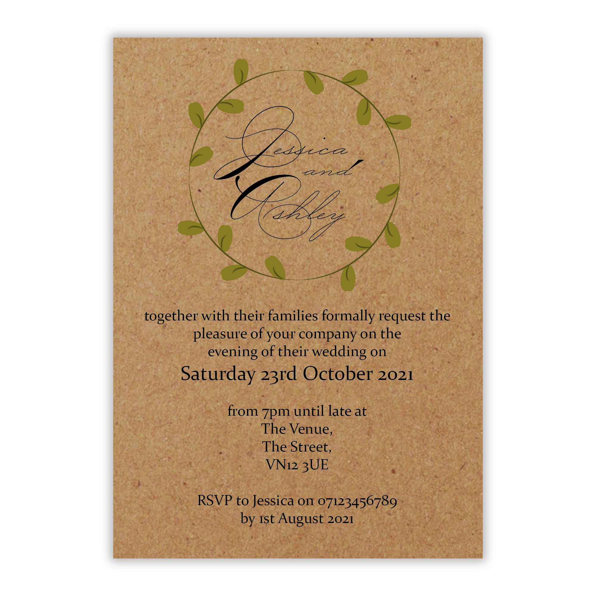 Recycled Brown Kraft Green Leaves Swirl Reception Invites