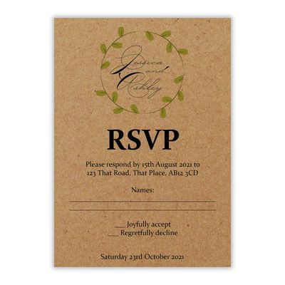 Recycled Brown Kraft Green Leaves Swirl Wedding RSVP Cards