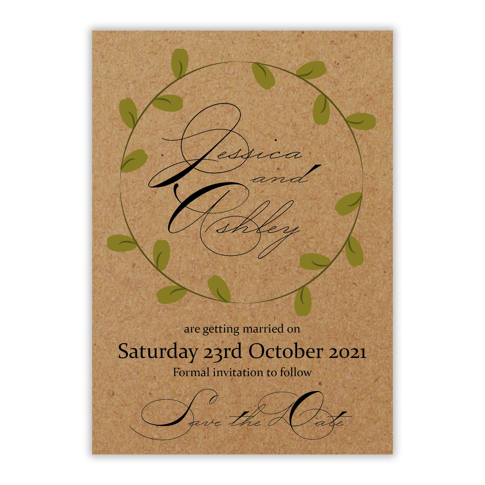 Recycled Brown Kraft Green Leaves Swirl Save the Date Cards
