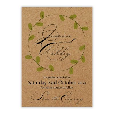Recycled Brown Kraft Green Leaves Swirl Save the Evening Cards