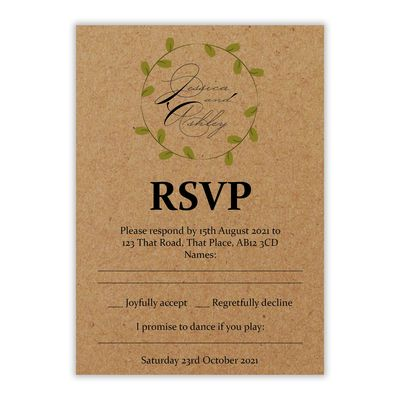 Recycled Brown Kraft Green Leaves Swirl Wedding RSVP Song Request Cards