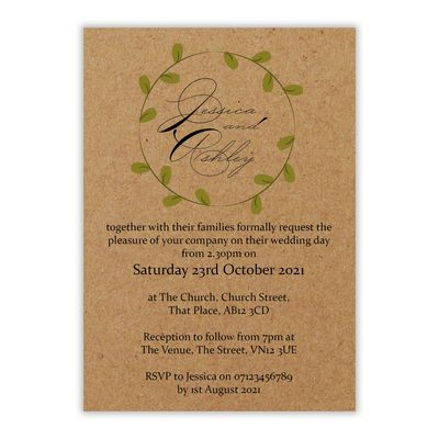 Recycled Brown Kraft Green Leaves Swirl Wedding Invites