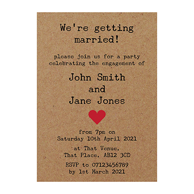 Recycled Brown Kraft Rustic Typewriter Engagement Invitations
