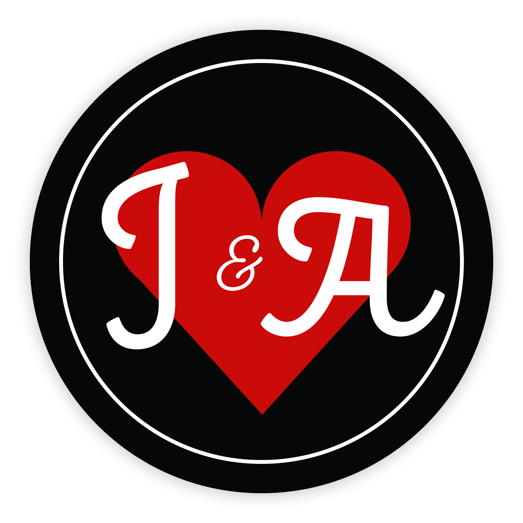 Black & Red Heart Cute Initial 37mm Round Labels