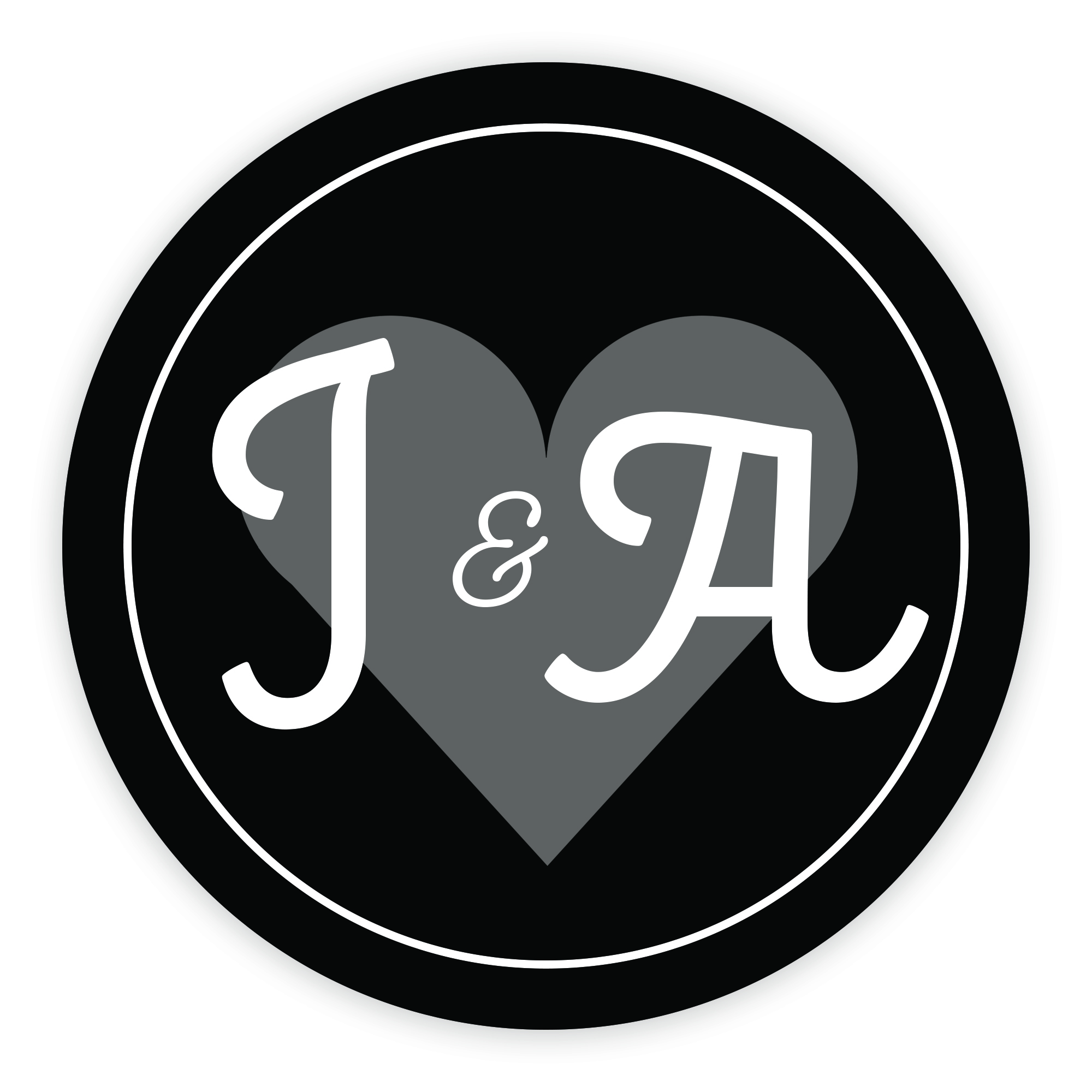 Black Heart Cute Initial 37mm Round Labels