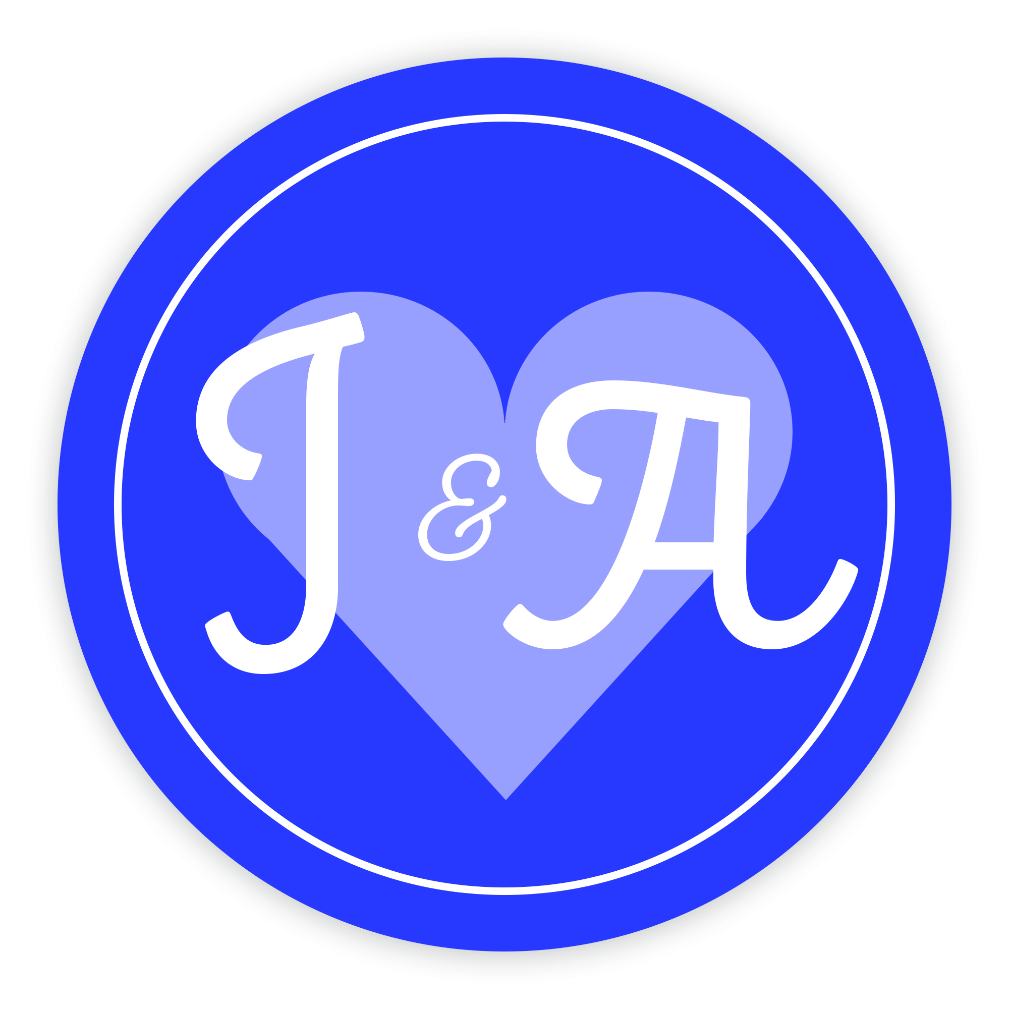 Blue Heart Cute Initial 37mm Round Labels
