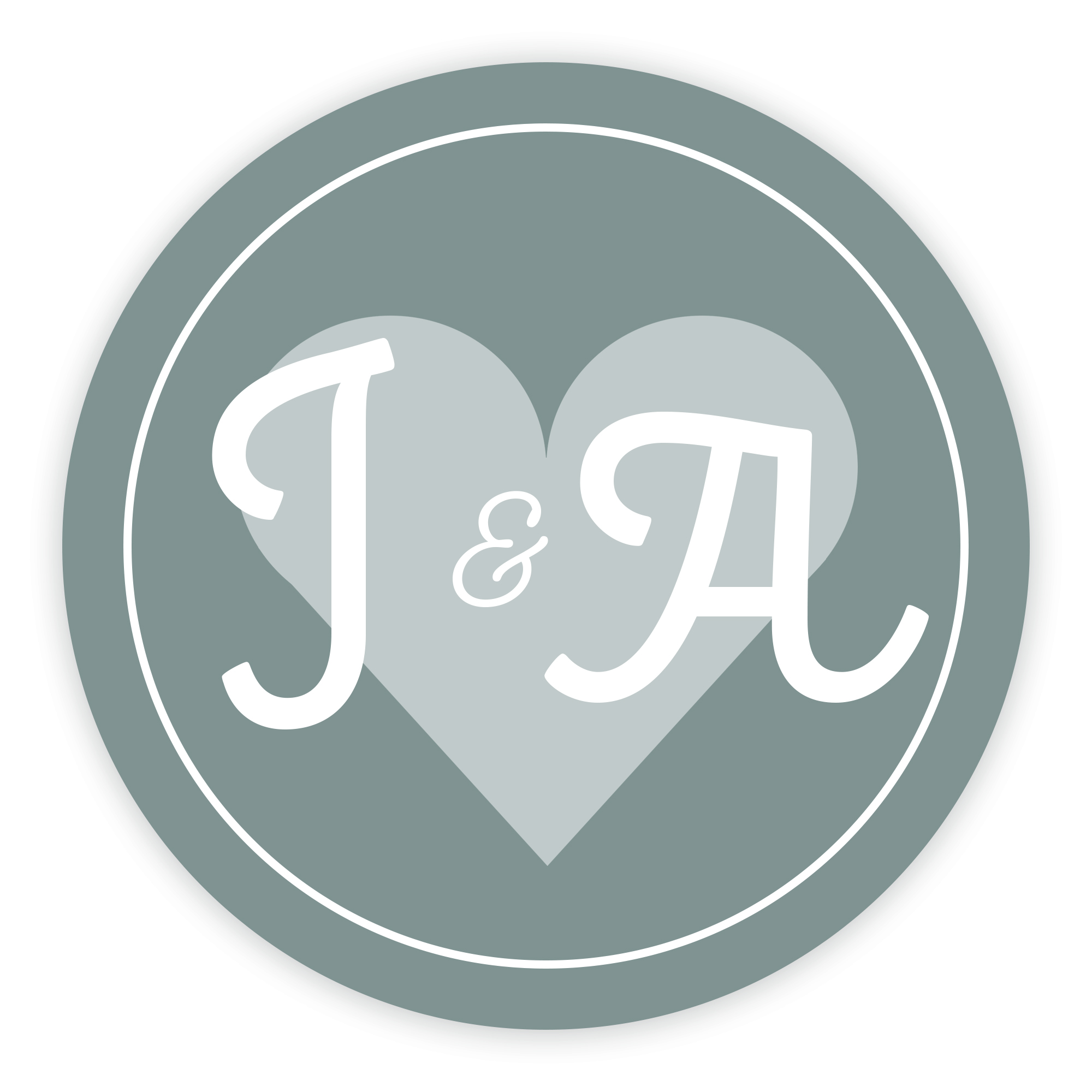 Grey Heart Cute Initial 37mm Round Labels