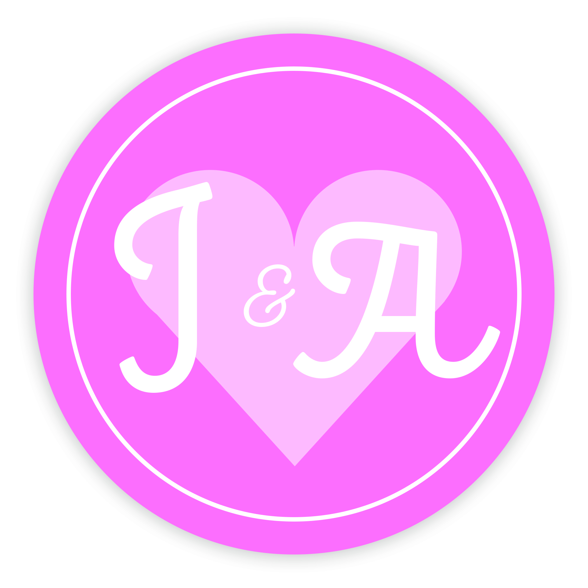 Pink Heart Cute Initial 37mm Round Labels