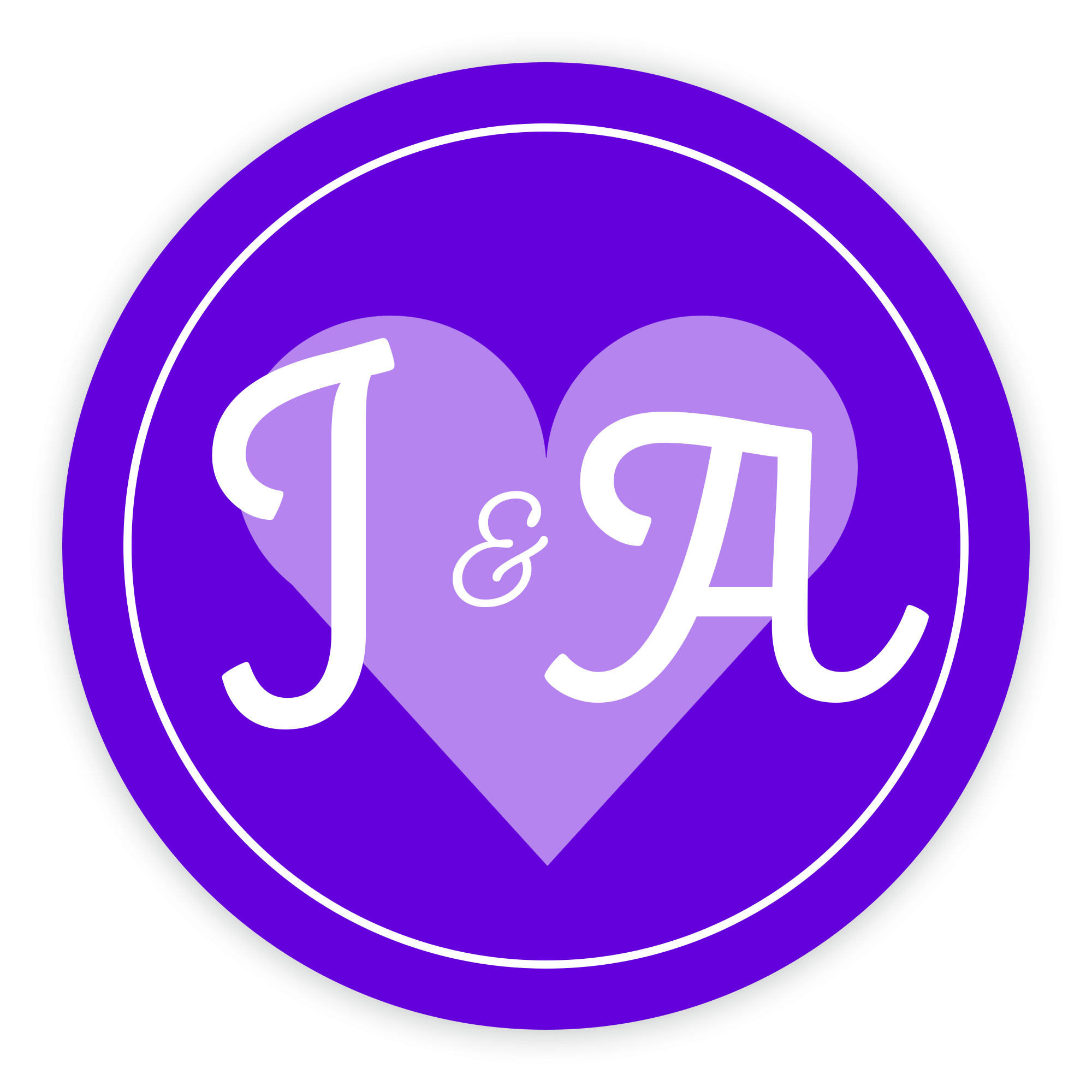 Purple Heart Cute Initial 37mm Round Labels