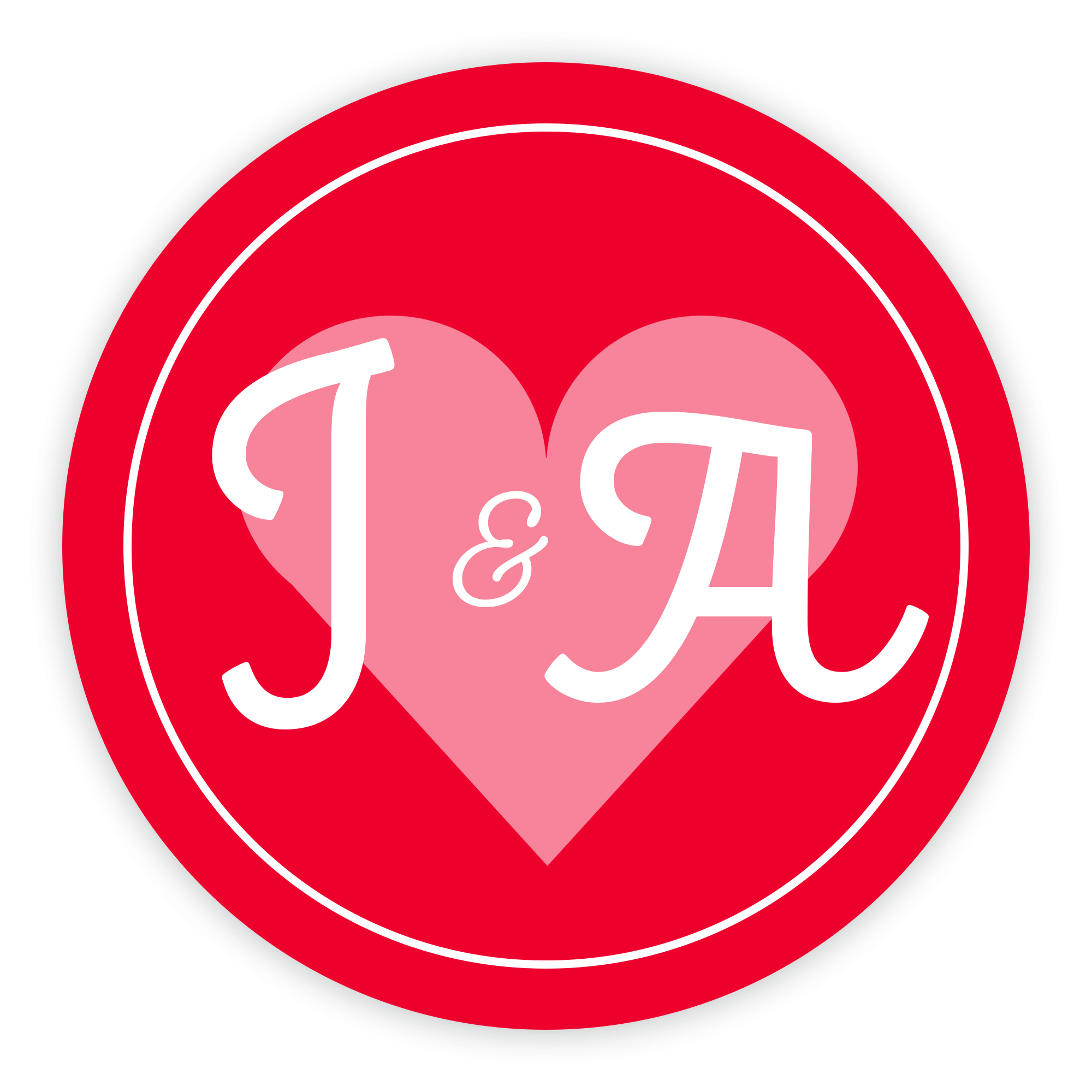 Red Heart Cute Initial 37mm Round Labels