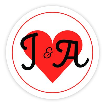 White & Red Heart Cute Initial 37mm Round Labels