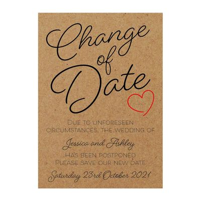 Recycled Brown Kraft Cute Heart Change of Date Cards