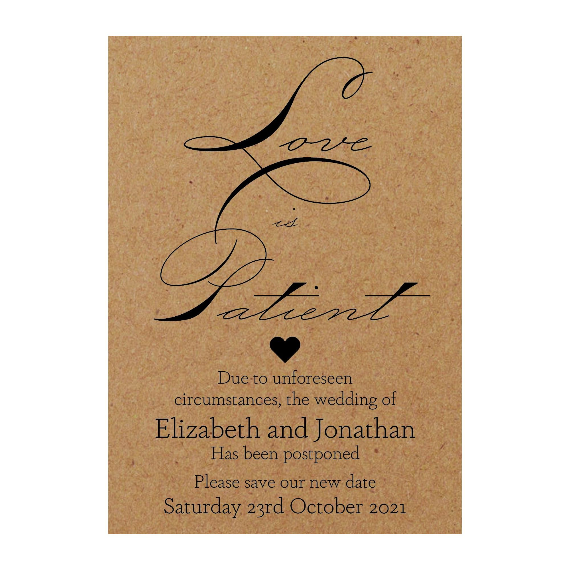 Recycled Brown Kraft Sweet Love Is Patient Change of Date Cards