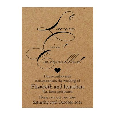 Recycled Brown Kraft Sweet Love Isn't Cancelled Change of Date Cards