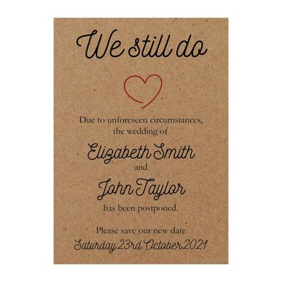 Recycled Brown Kraft Sweet We Still Do Change of Date Cards