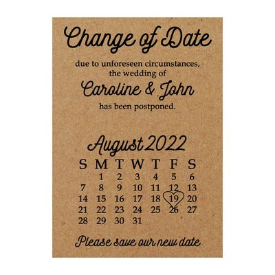 Recycled Brown Kraft Calendar Change of Date Cards