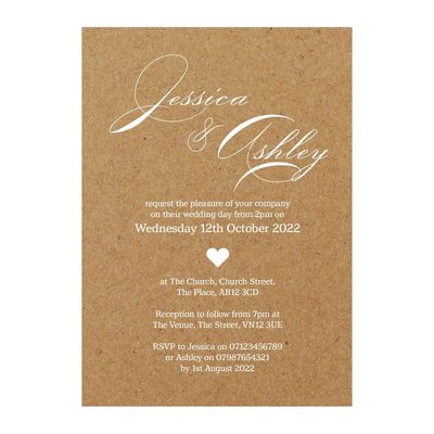 Recycled Brown Kraft White Ink Classic Swirl Decorative Wedding Invitations