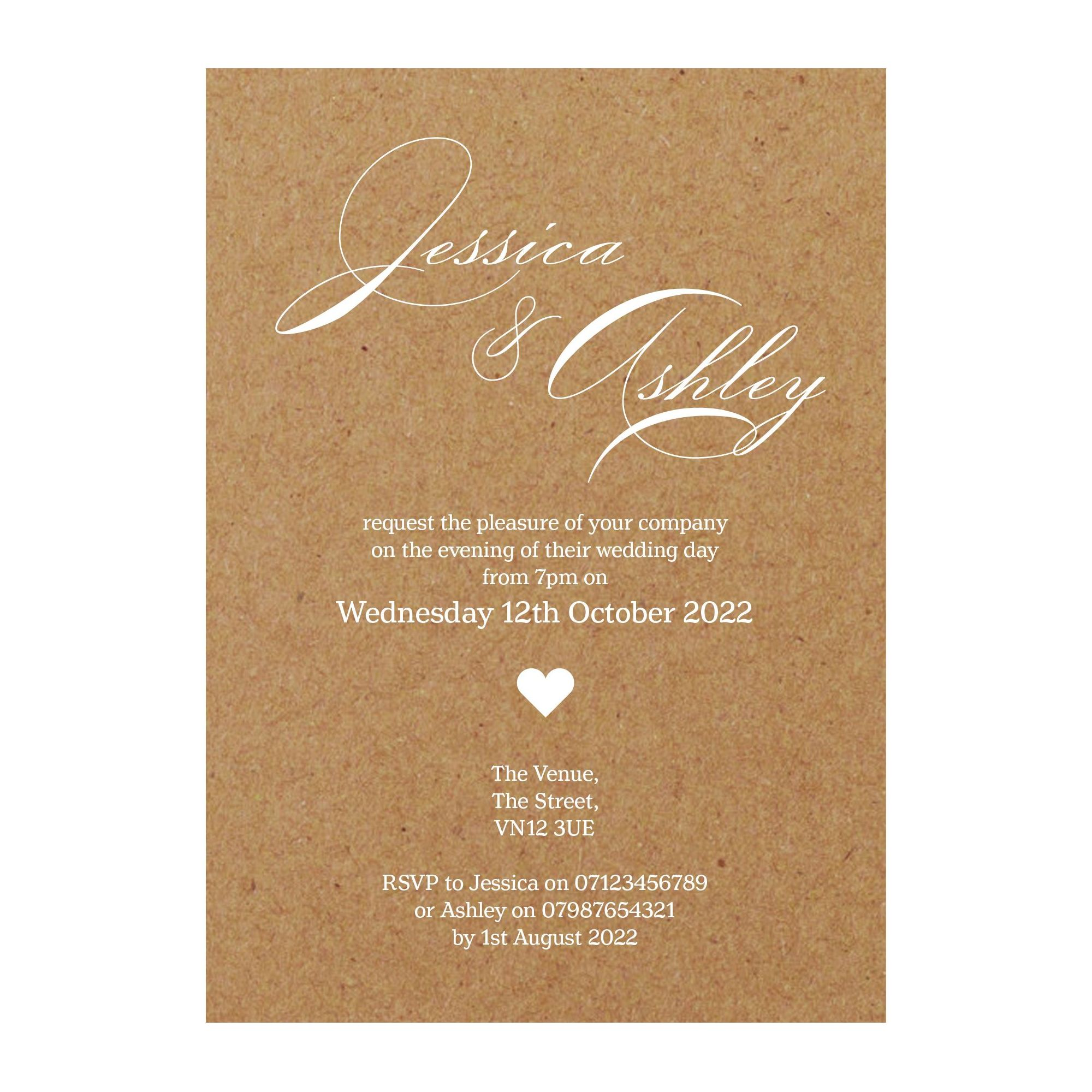 Recycled Brown Kraft White Ink Classic Swirl Decorative Reception Invitations