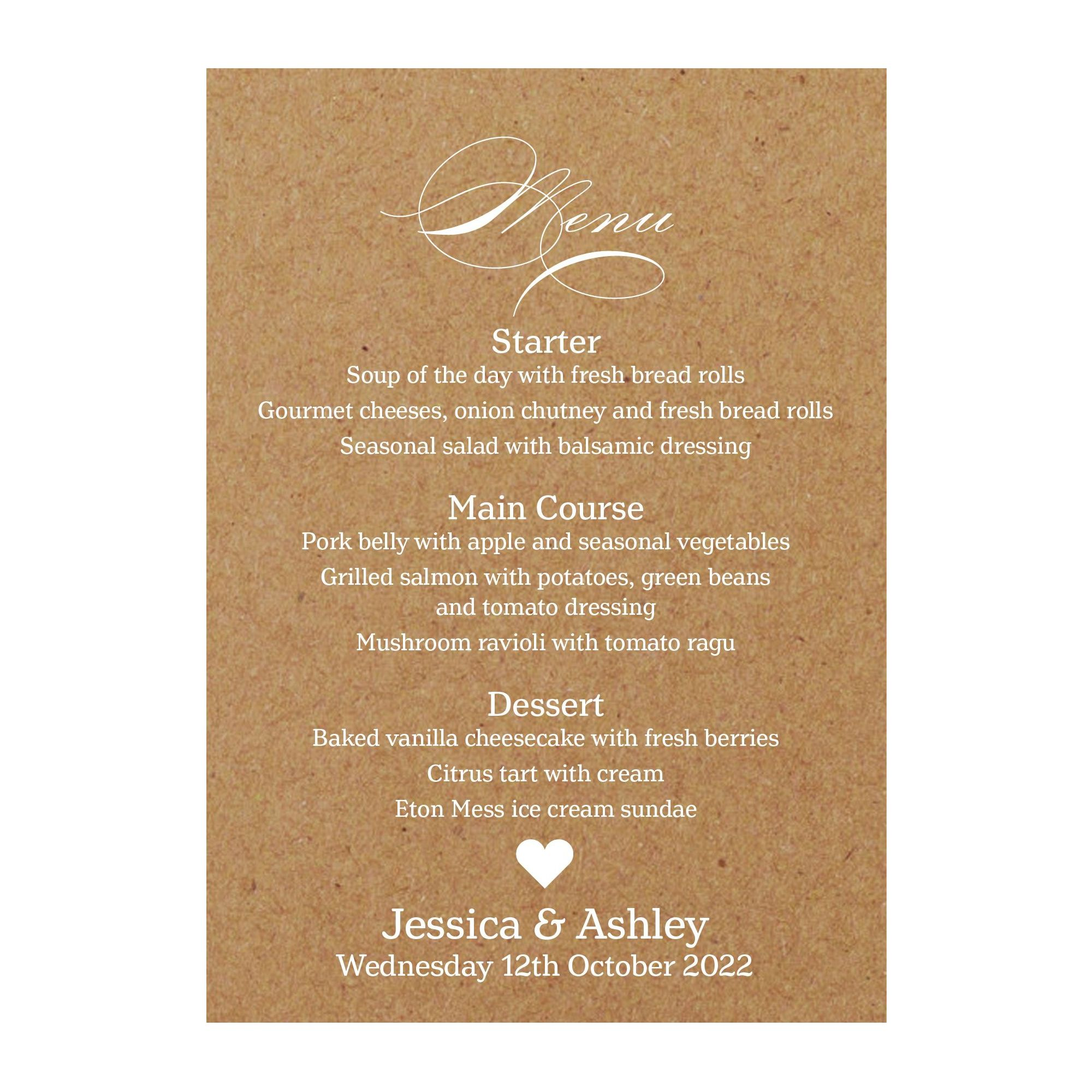 Recycled Brown Kraft White Ink Classic Swirl Decorative Menu Cards