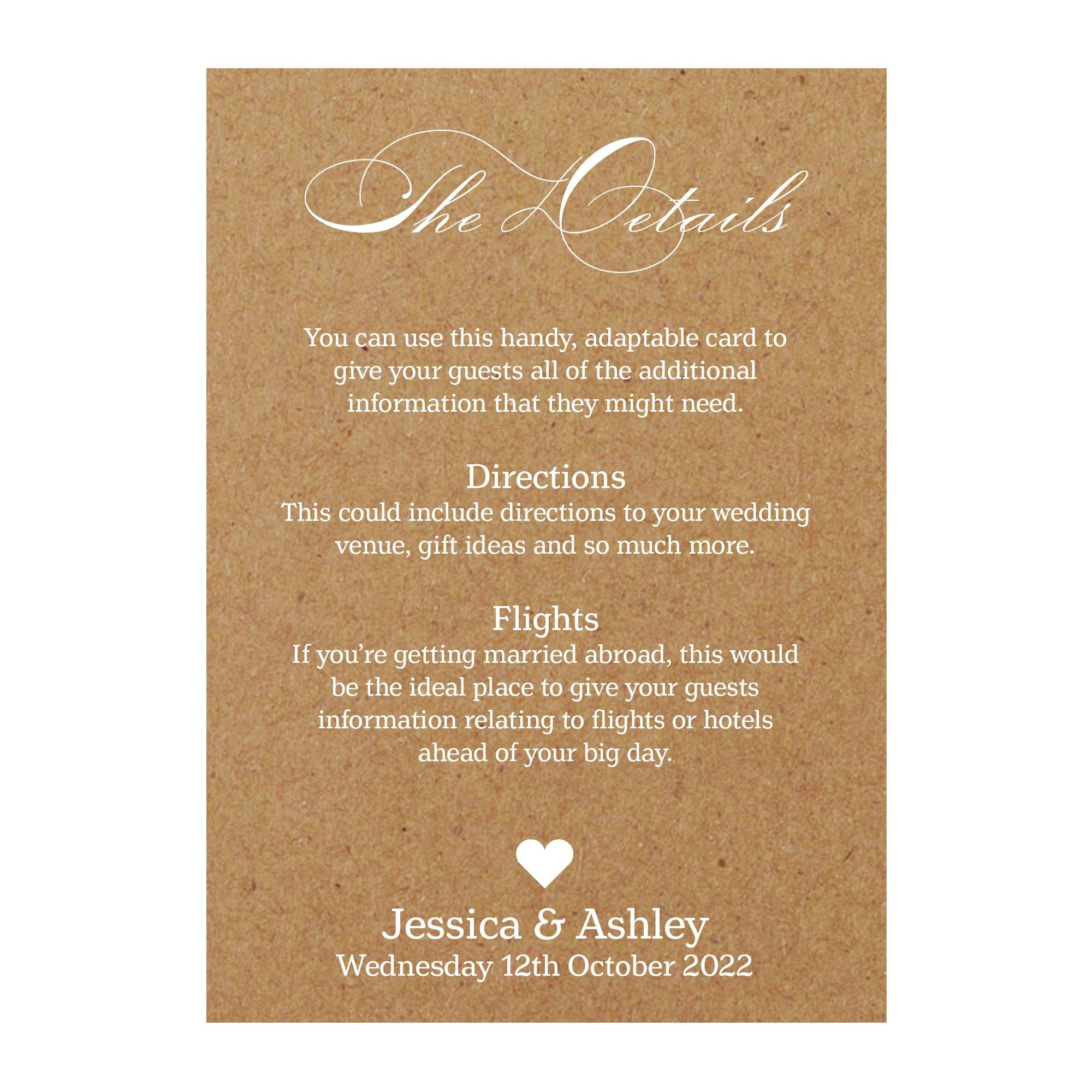 Recycled Brown Kraft White Ink Classic Swirl Decorative Guest Information Cards