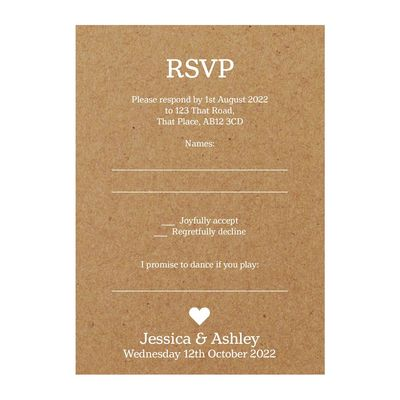 Recycled Brown Kraft White Ink Classic Swirl Decorative Song RSVP Cards