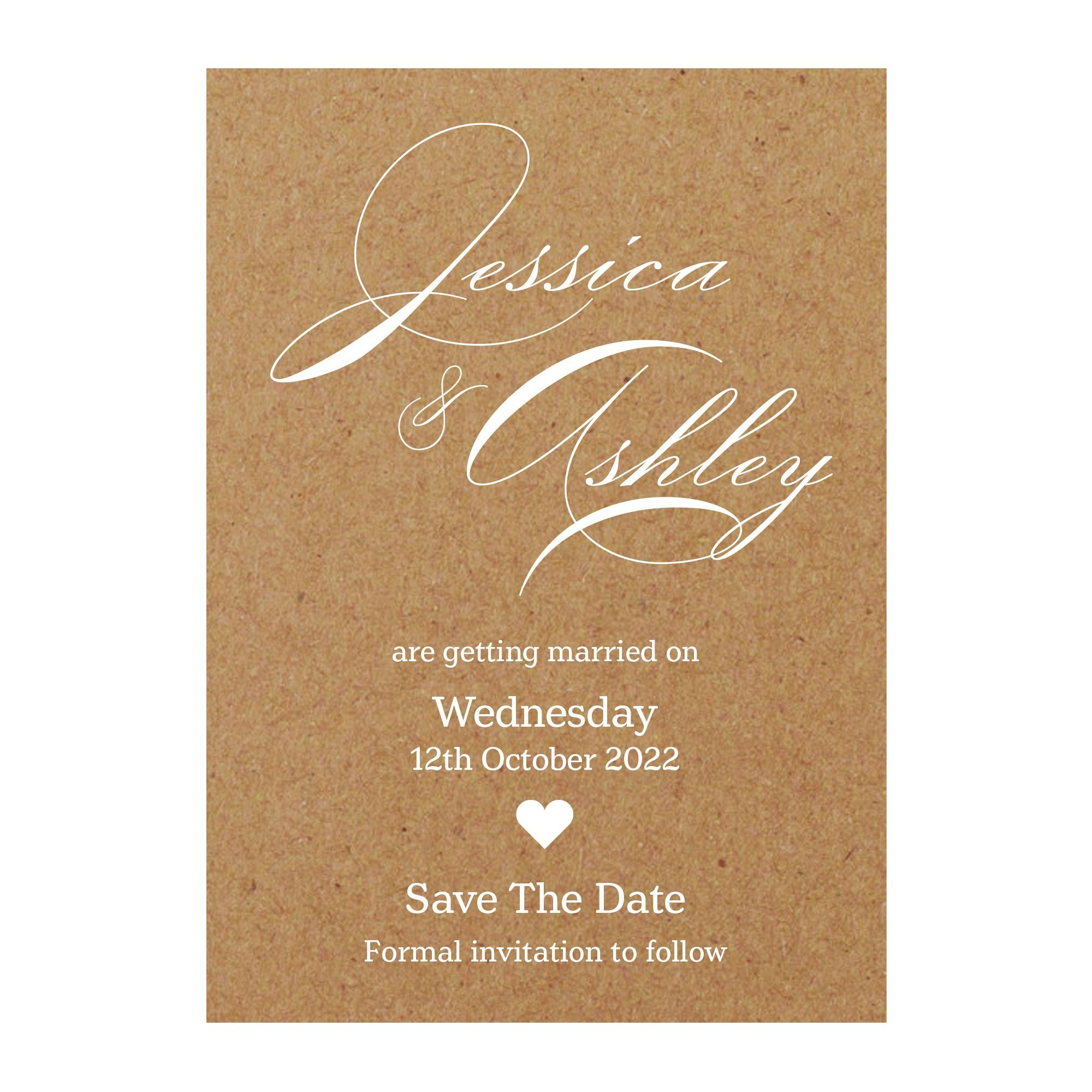 Recycled Brown Kraft White Ink Classic Swirl Decorative Save the Date Cards