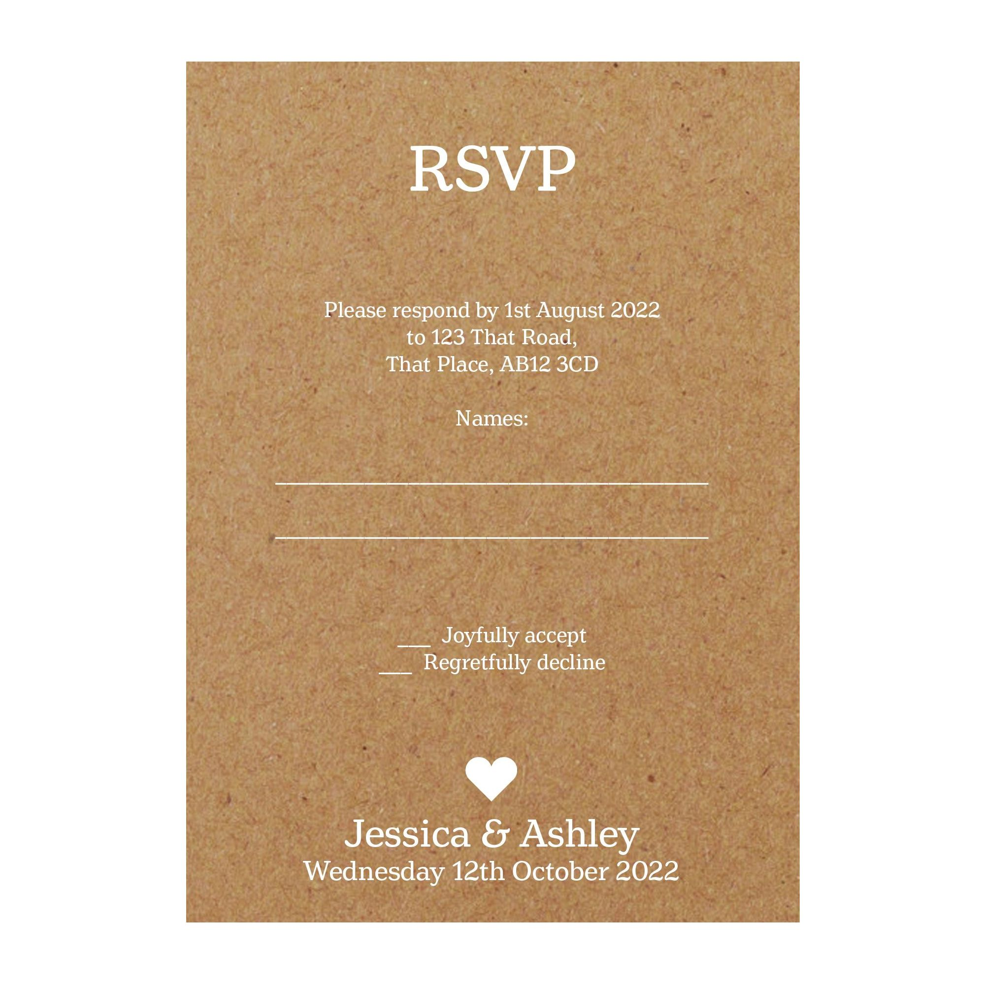Recycled Brown Kraft White Ink Classic Swirl Decorative RSVP Cards