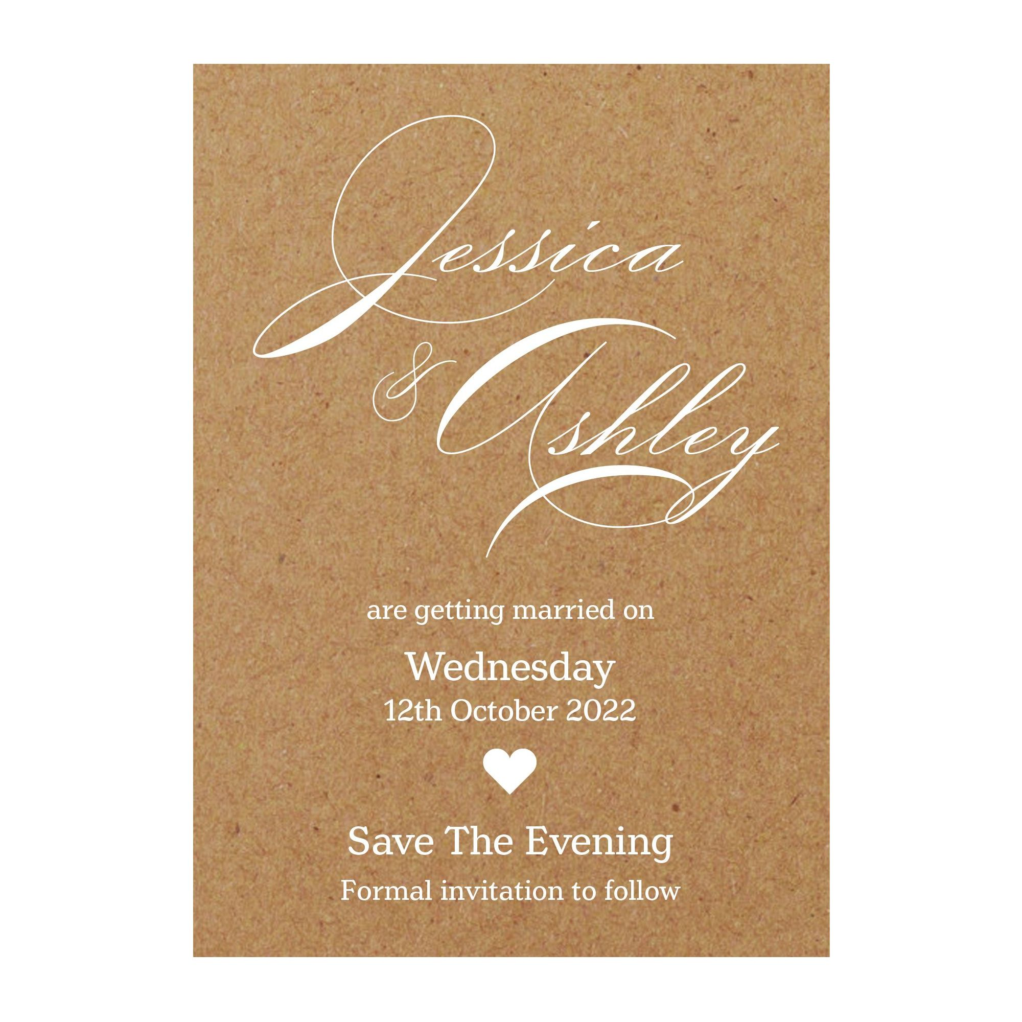 Recycled Brown Kraft White Ink Classic Swirl Decorative Save the Evening Cards