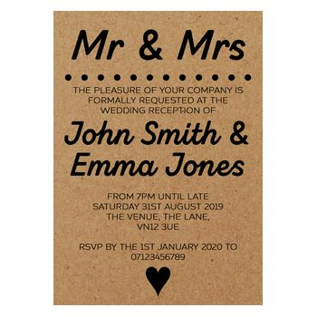 Recycled Brown Kraft Mr & Mrs Reception Invitations