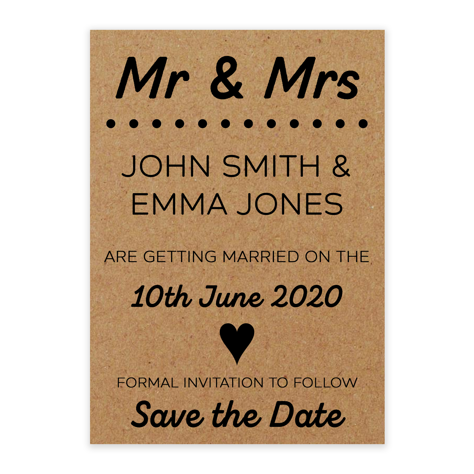 Recycled Brown Kraft Mr & Mrs Save the Date Cards