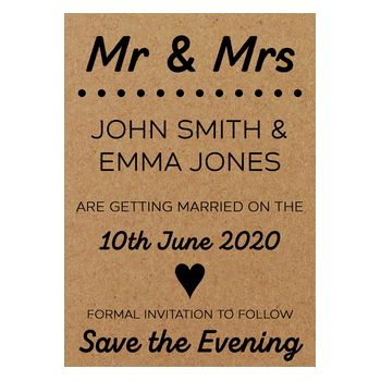 Recycled Brown Kraft Mr & Mrs Save the Evening Cards
