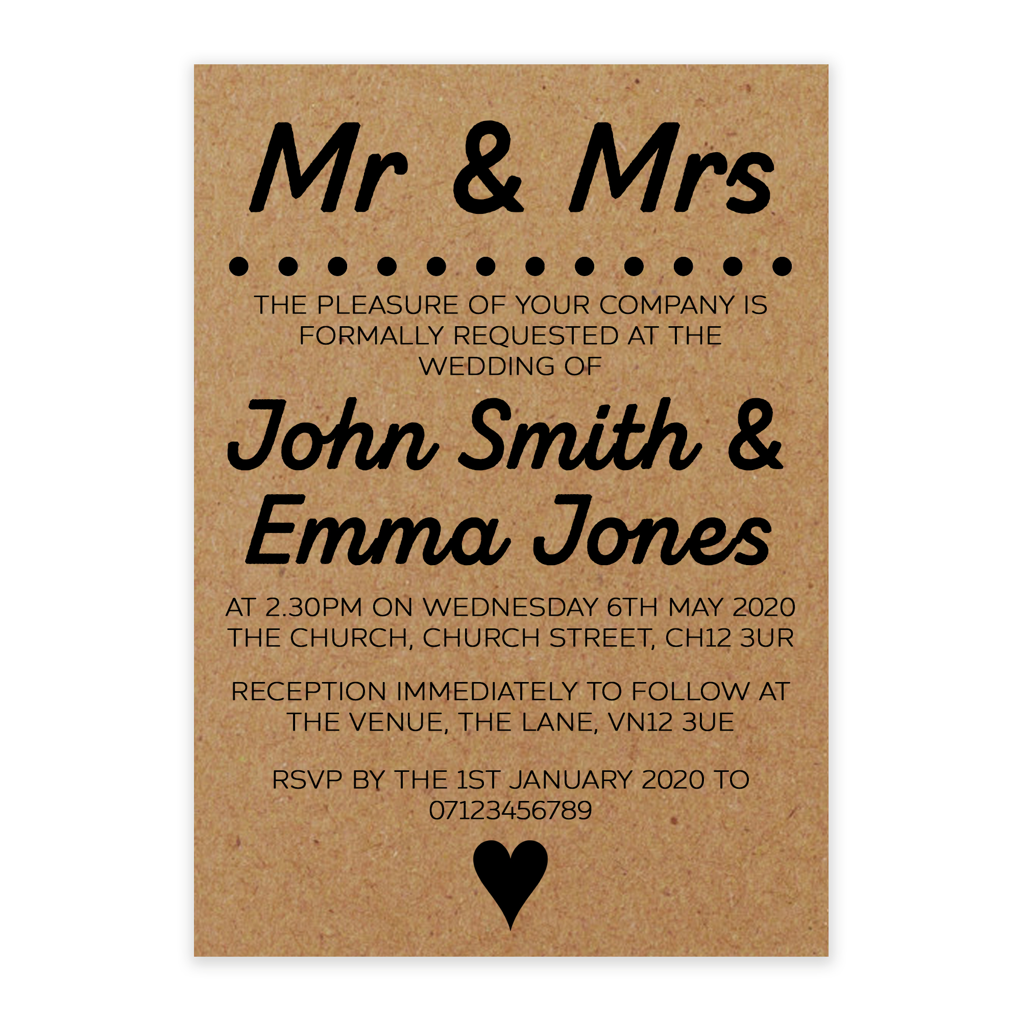 Recycled Brown Kraft Mr & Mrs Wedding Invitations