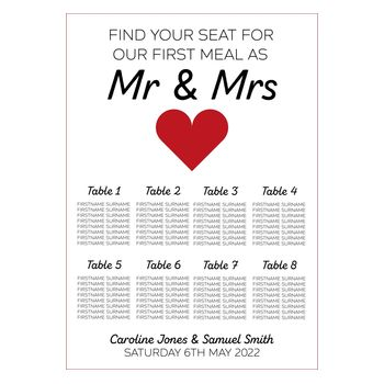 Mr & Mrs 2mm Card Wedding Breakfast Reception Seating Table Plan