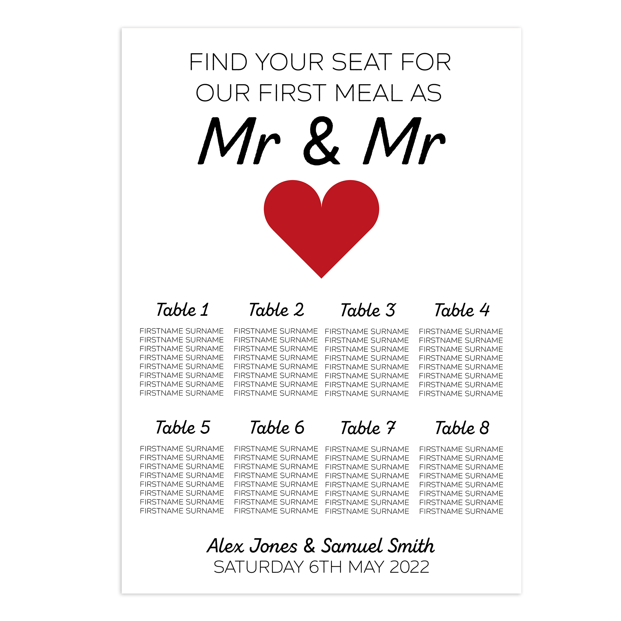 Mr & Mr 2mm Card Wedding Breakfast Reception Seating Table Plan