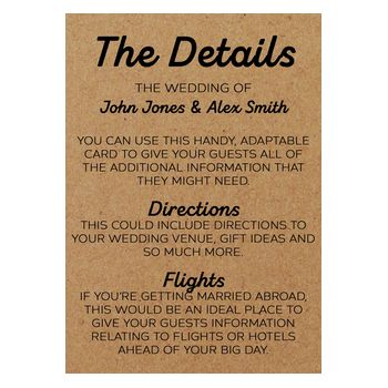 Recycled Brown Kraft Mr & Mr Guest Information Cards