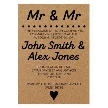 Recycled Brown Kraft Mr & Mr Reception Invitations