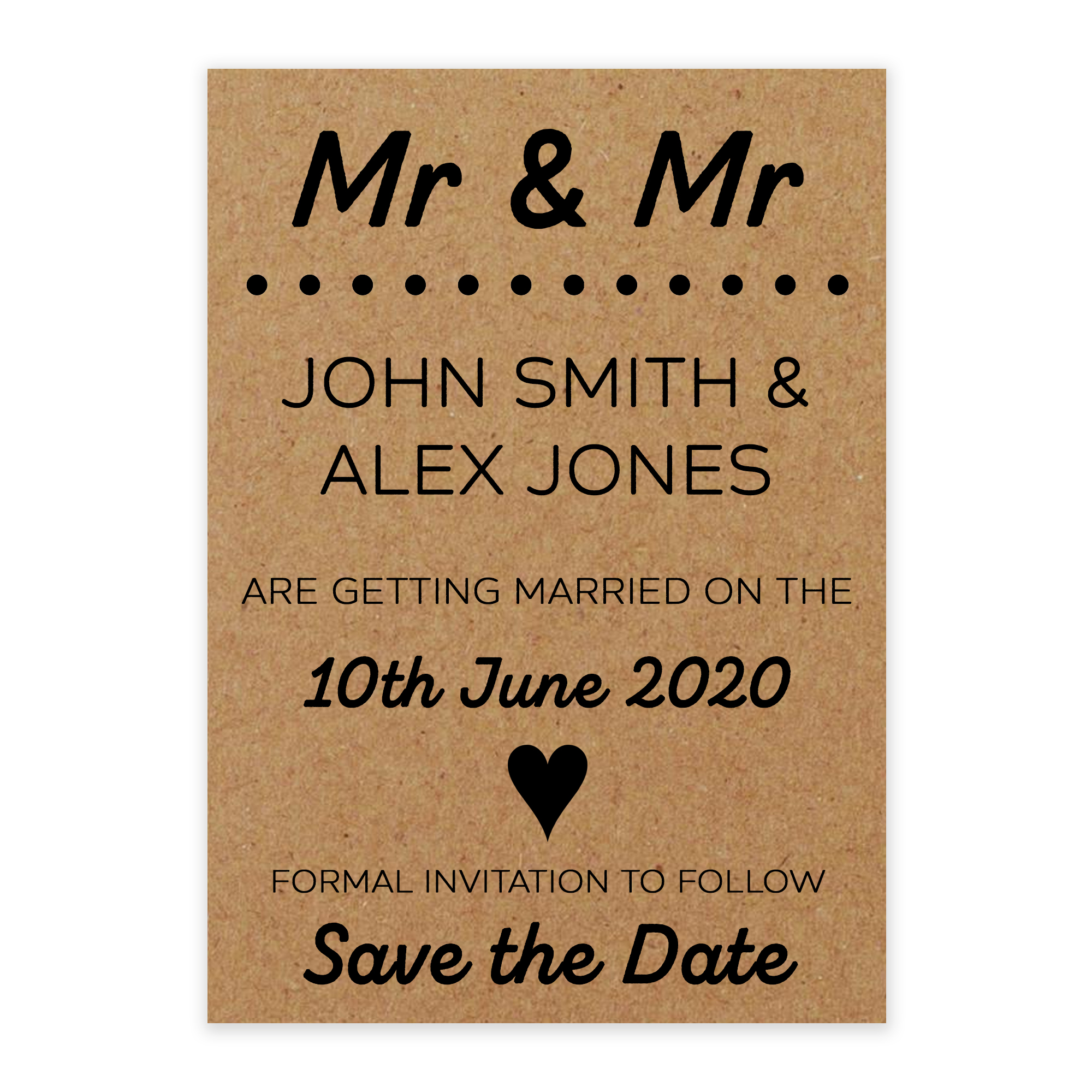 Recycled Brown Kraft Mr & Mr Save the Date Cards