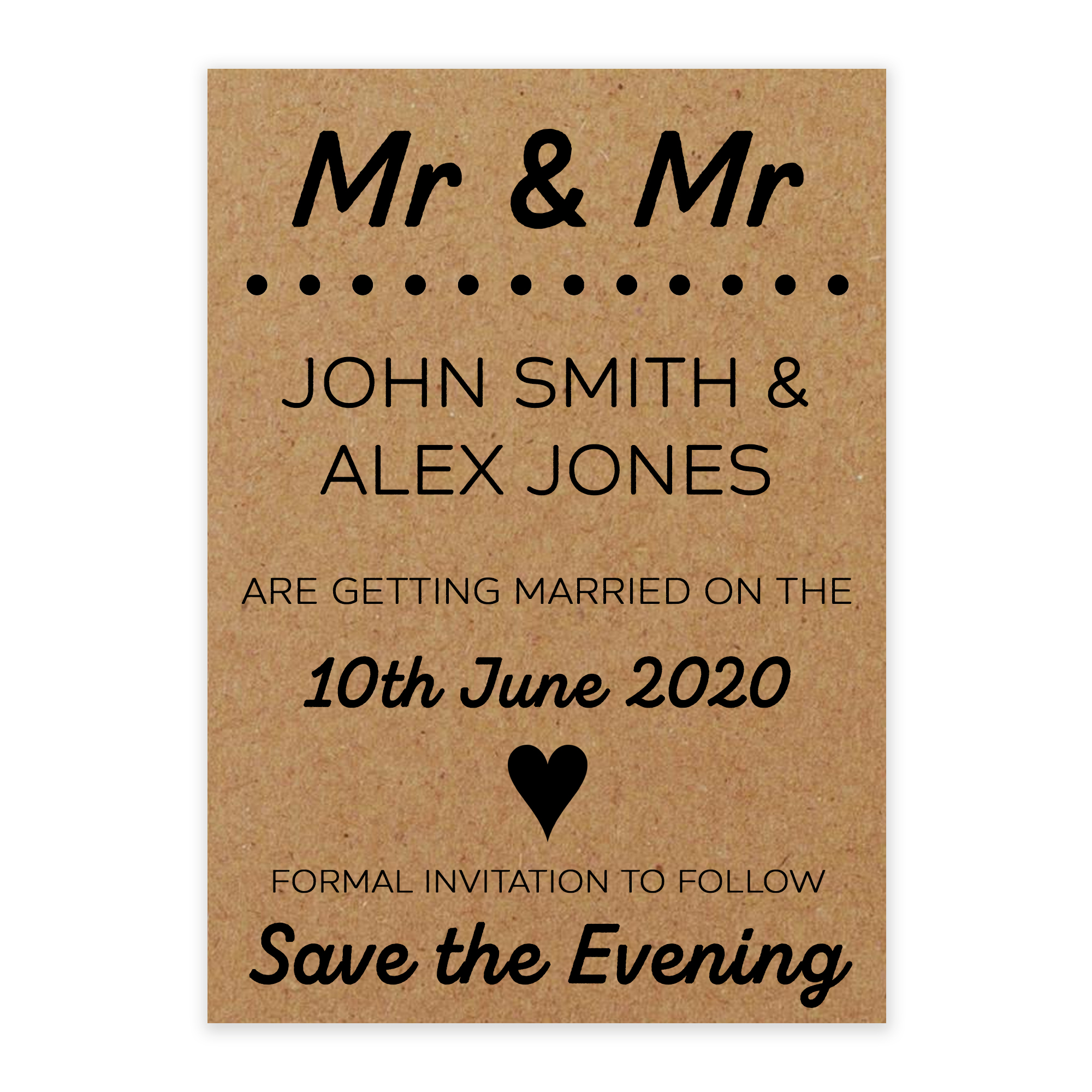 Recycled Brown Kraft Mr & Mr Save the Evening Cards