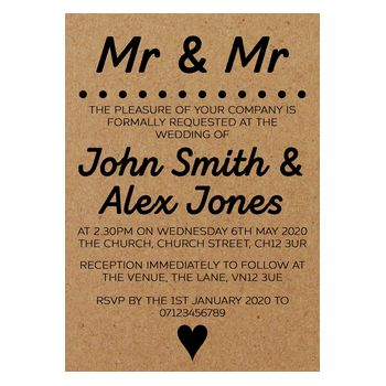 Recycled Brown Kraft Mr & Mr Wedding Invitations