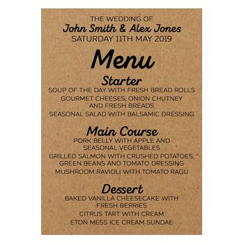 Recycled Brown Kraft Mr & Mr Wedding Menu Cards