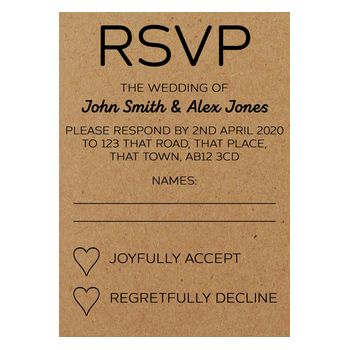Recycled Brown Kraft Mr & Mr Wedding RSVP Cards