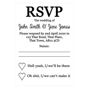 White Recycled Shit Just Got Real Wedding RSVP Cards