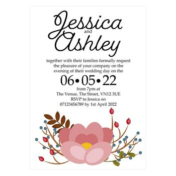 Textured White Pink Cute Floral Reception Invitations