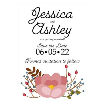 Textured White Pink Cute Floral Save the Date Cards