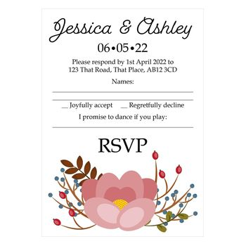 Textured White Pink Cute Floral Song Request RSVP Cards