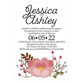 Textured White Pink Cute Floral Wedding Invitations