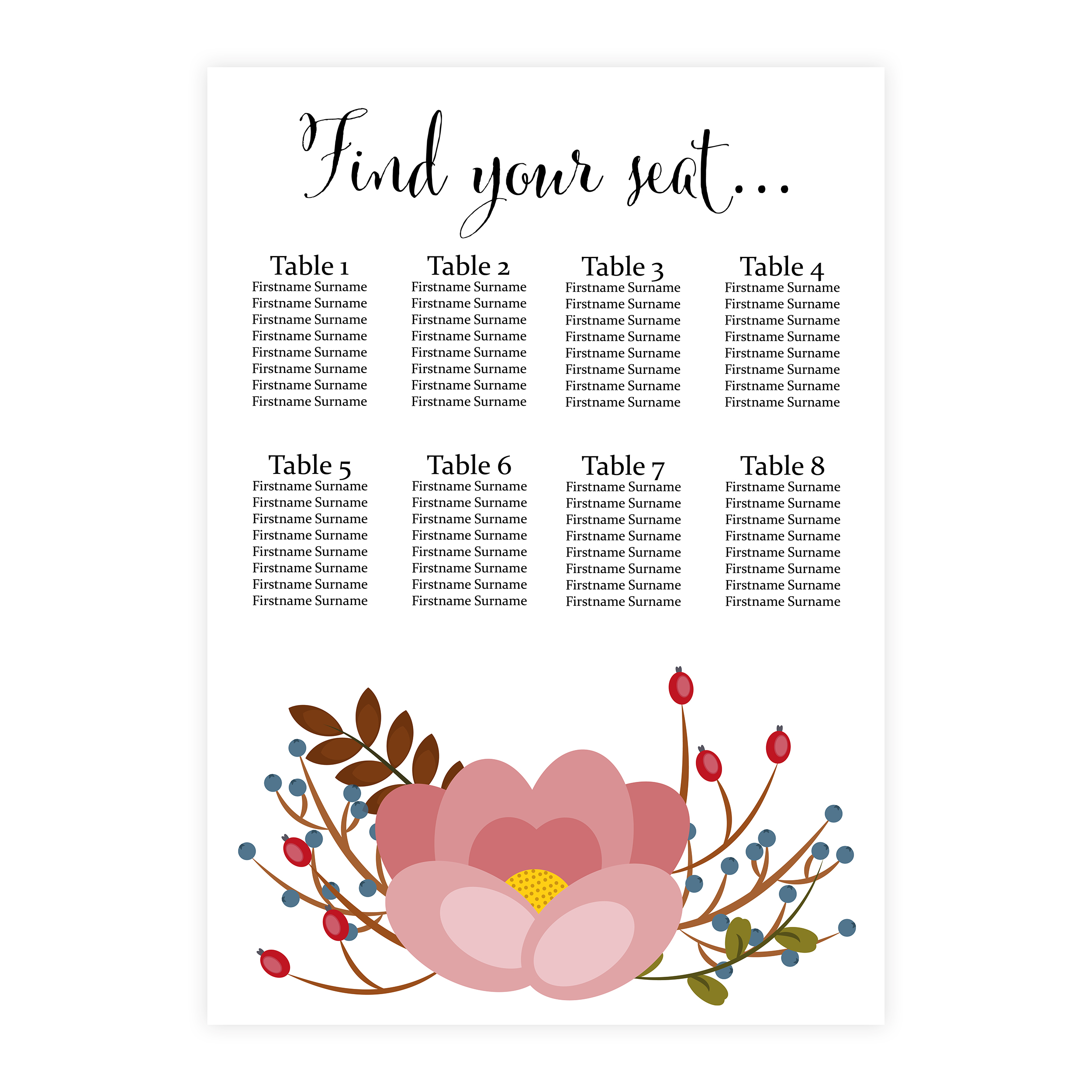 Pink Floral 2mm Card Wedding Breakfast Reception Seating Table Plan