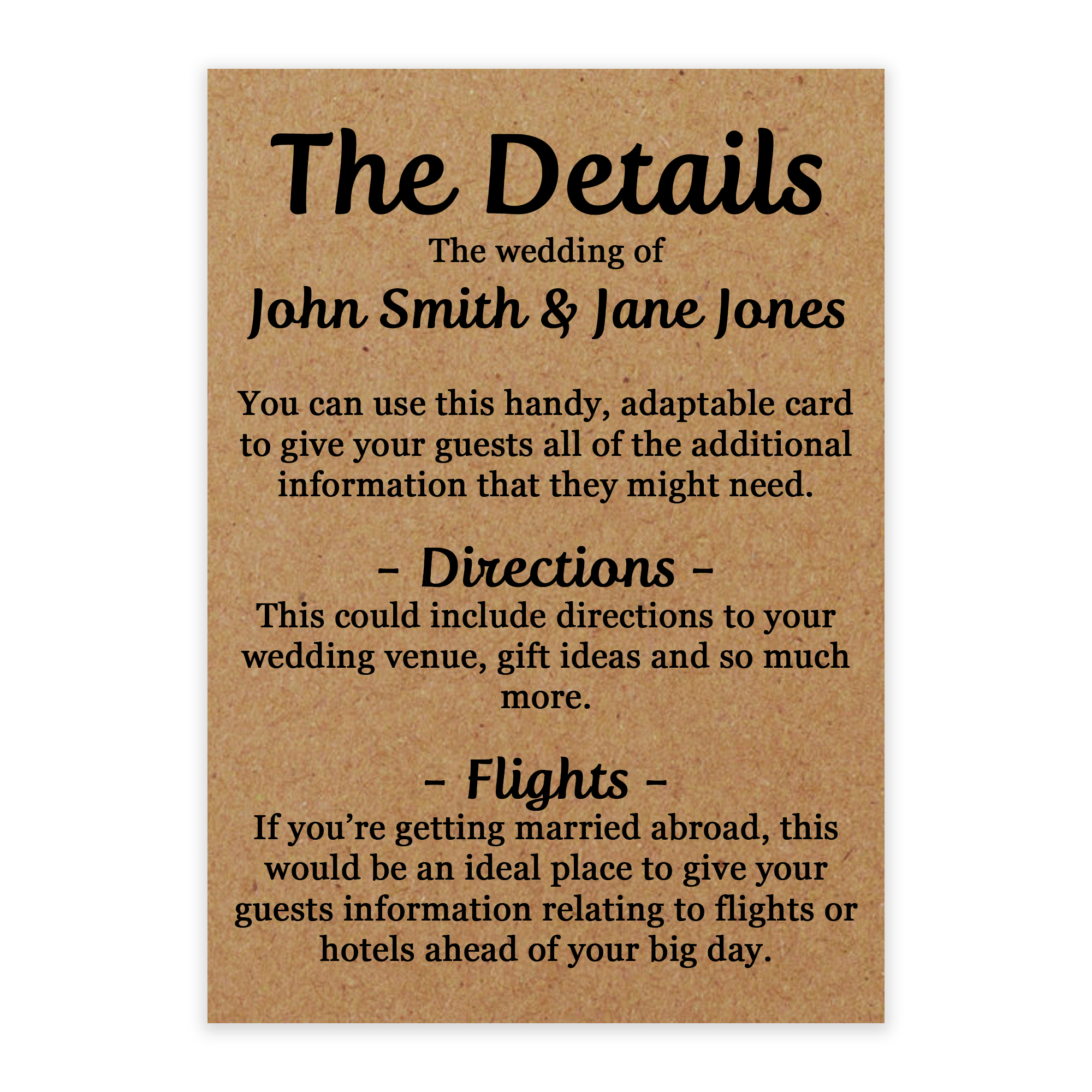 Recycled Brown Kraft Guess Who is Getting Married Guest Information Cards