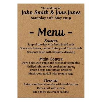 Recycled Brown Kraft Guess Who Wedding Breakfast Menu Cards