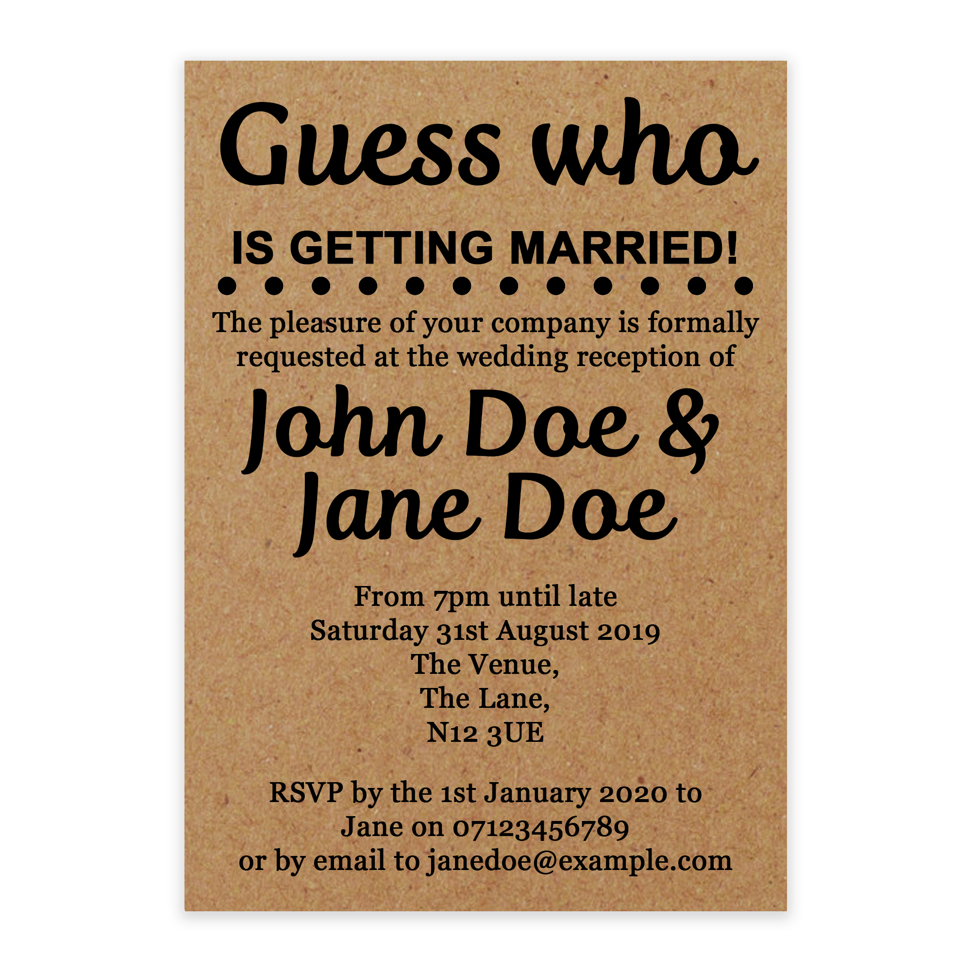 Recycled Brown Kraft Guess Who is Getting Married Reception Invites